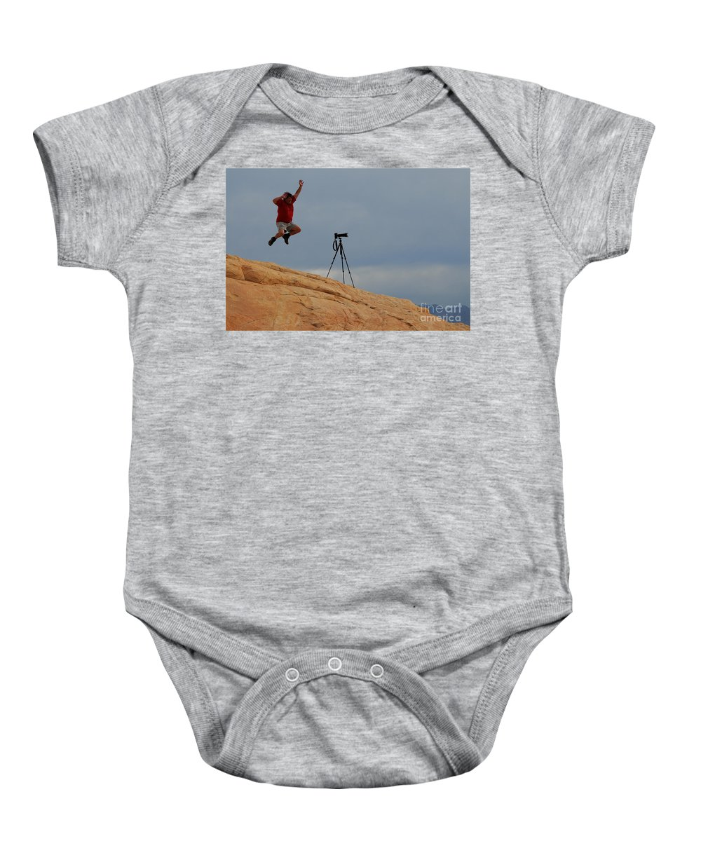 Camera Baby Onesie featuring the photograph I Think He Got The Shot by Vivian Christopher
