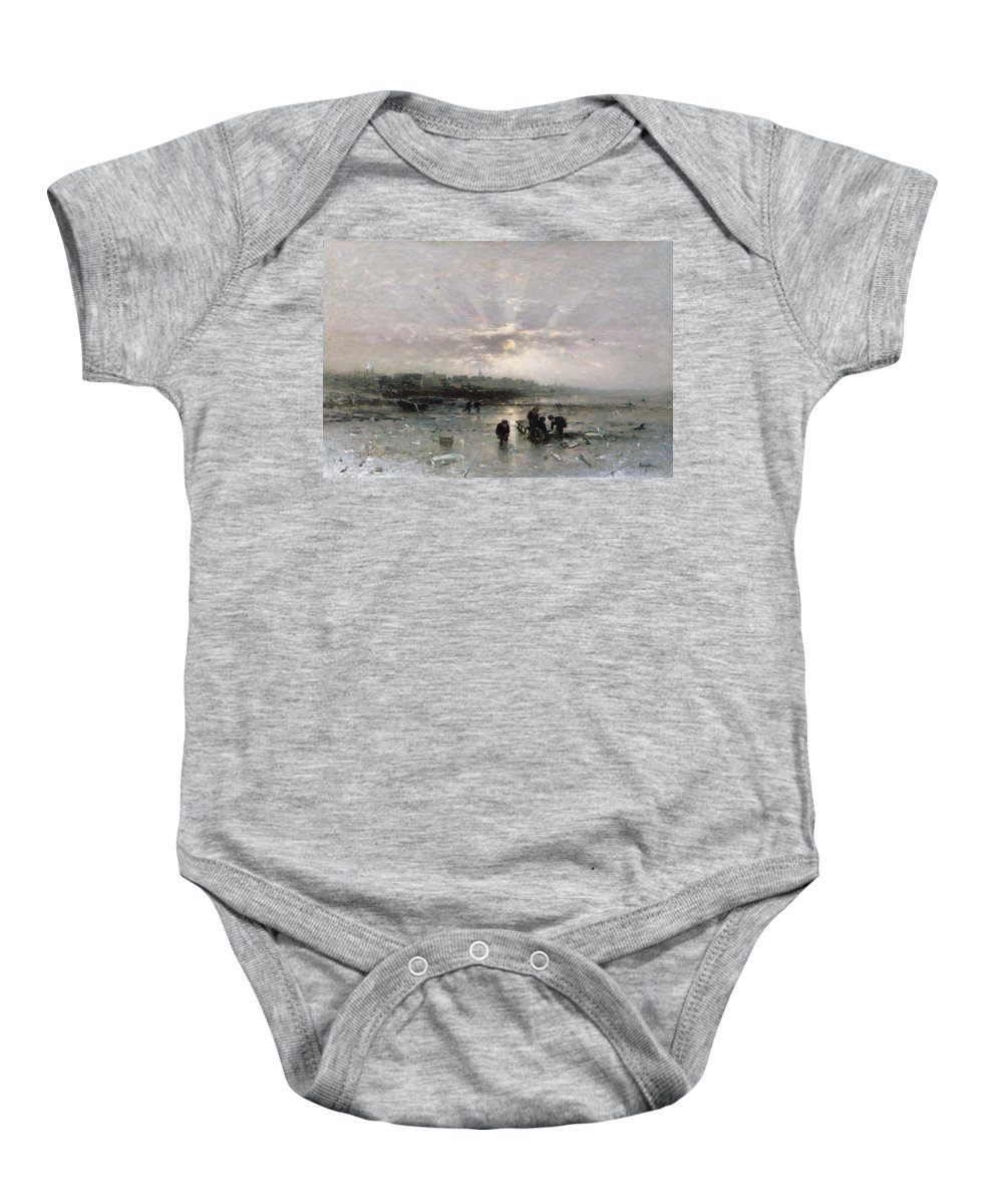 Sunrise; Urban; Cold Baby Onesie featuring the painting Ice Fishing by Ludwig Munthe