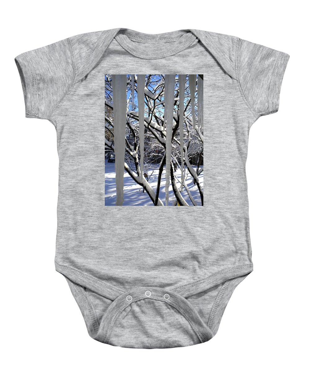 Icicles Baby Onesie featuring the painting Icicles by Renate Nadi Wesley