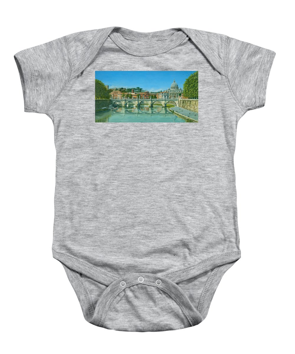 Landscape Baby Onesie featuring the painting Il Fiumi Tevere Roma by Richard Harpum
