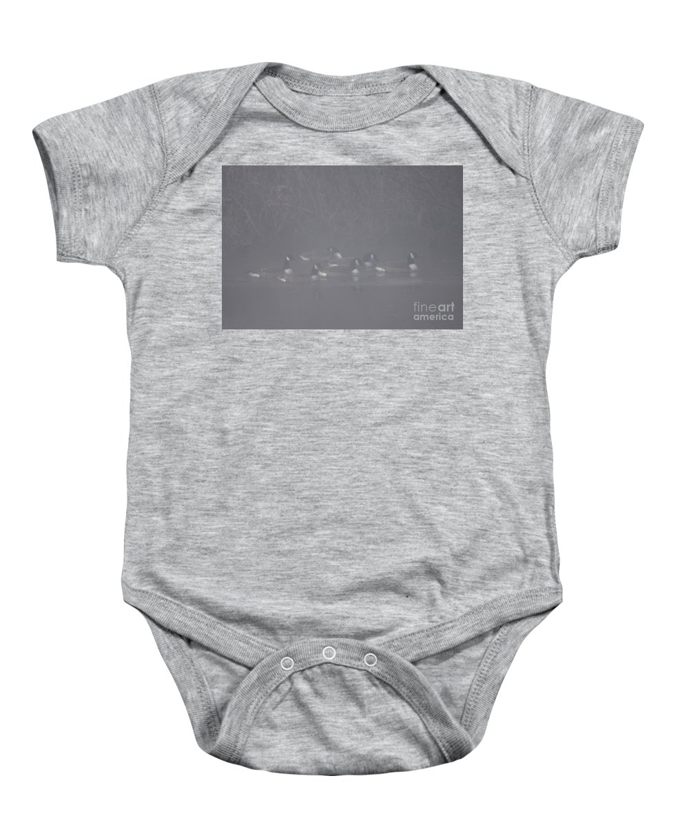 Fog Baby Onesie featuring the photograph In The Morning Mist by Angel Ciesniarska