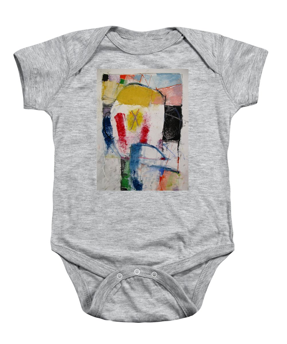 Abstract Baby Onesie featuring the mixed media Inaugural Page by Cliff Spohn