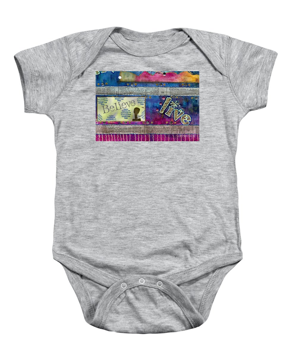 Woman Baby Onesie featuring the mixed media Infuse Me With Laughter by Angela L Walker
