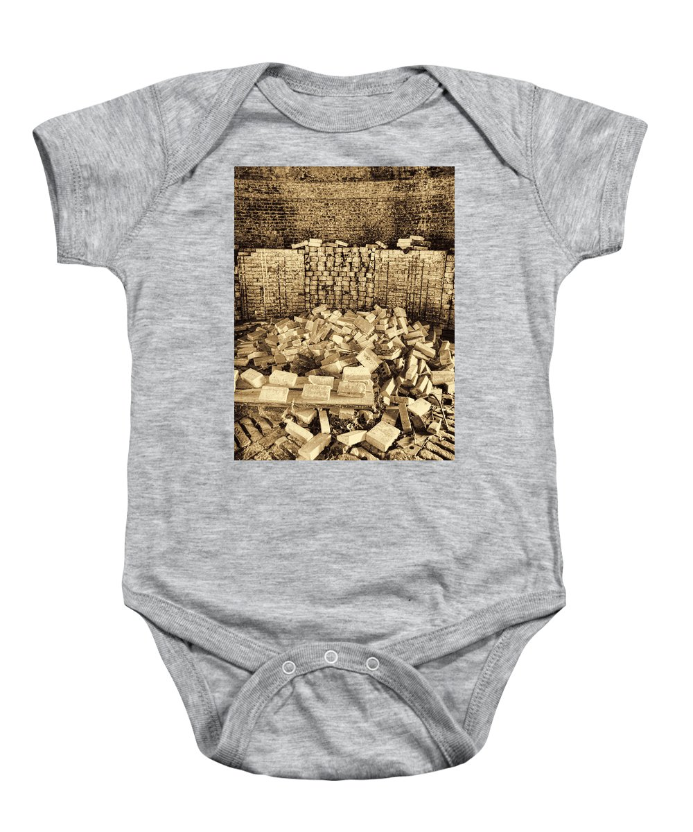 Brick Kiln Baby Onesie featuring the photograph Inside The Historical Brick Kiln Decatur Alabama Usa by Kathy Clark