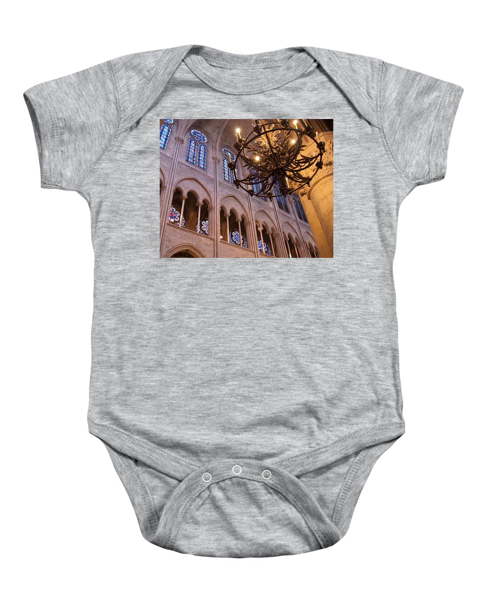 France Baby Onesie featuring the photograph Interior Notre Dame Cathedral by Jon Berghoff