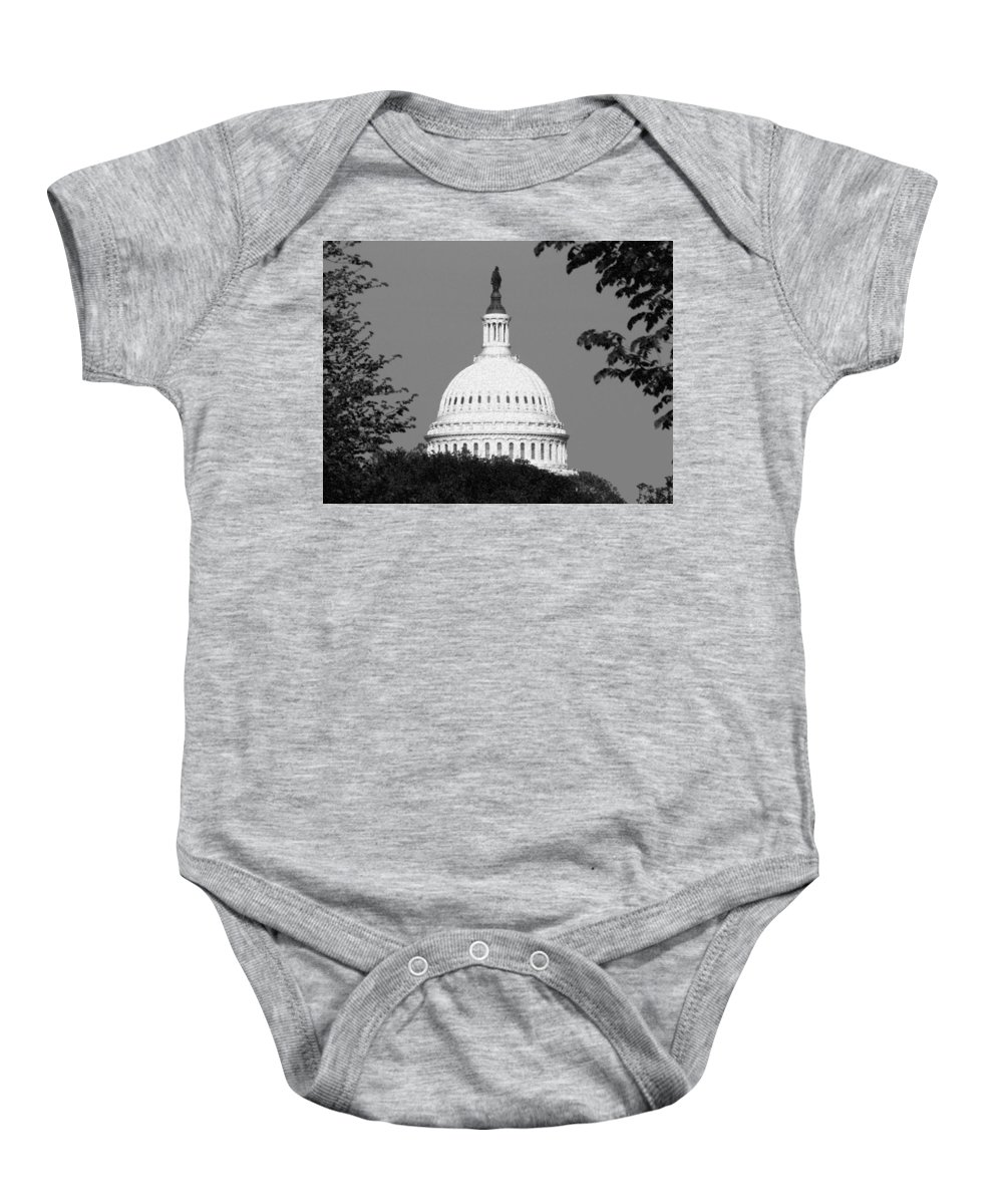 Capital Washington Dc Dome Congress Government Architecture Baby Onesie featuring the photograph It Really Is Black And White by Kevin Fortier