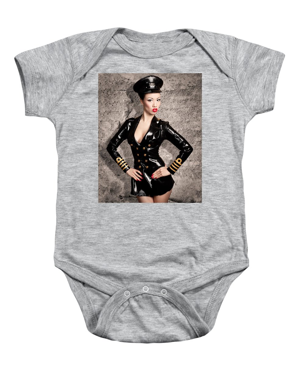 Fetish Baby Onesie featuring the photograph Jade Vixen Military 1143 by Gary Heller