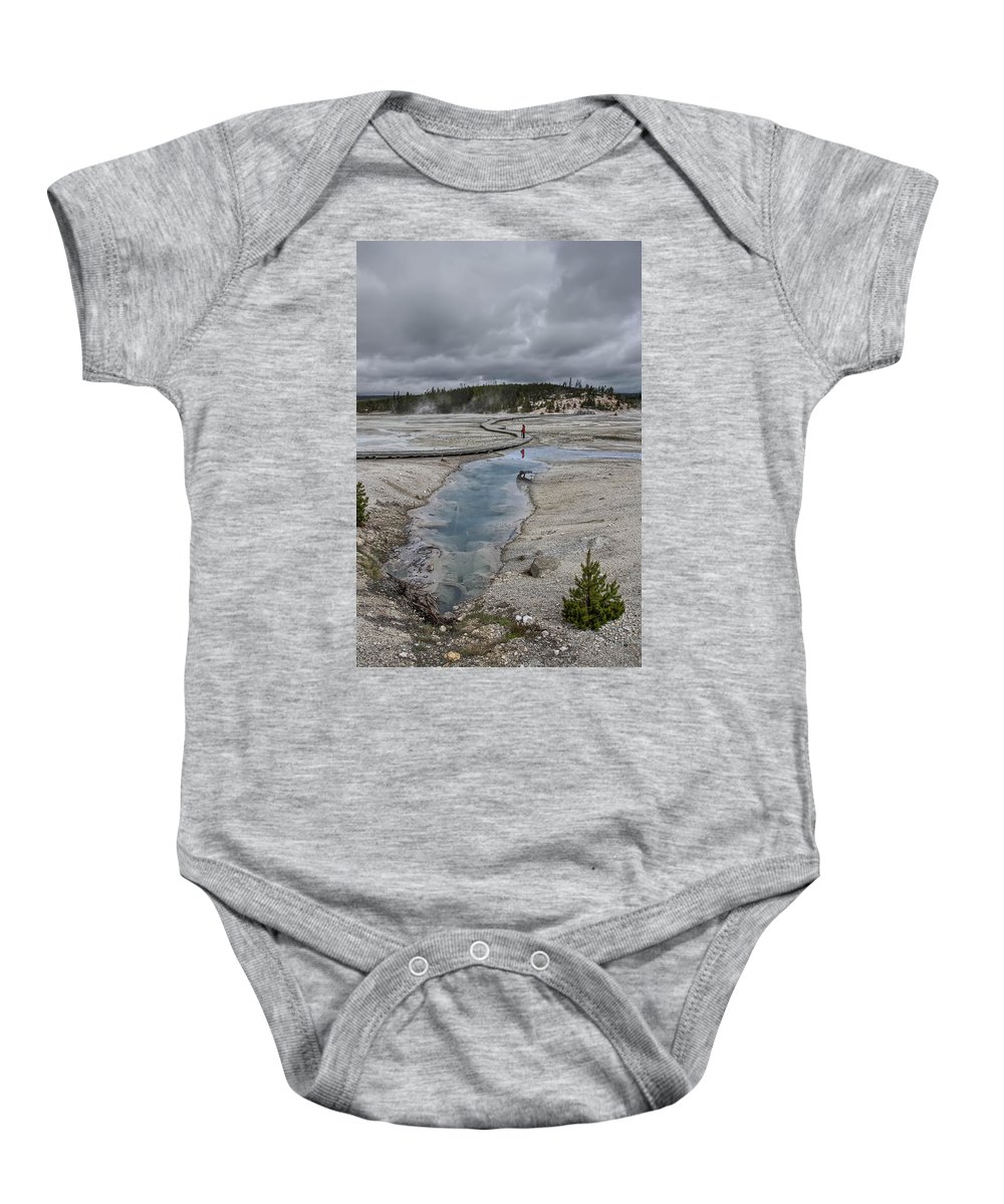 Yellowstone Baby Onesie featuring the photograph Japanese Woman With Umbrella At Norris Geyser Basin by Daniel Hagerman