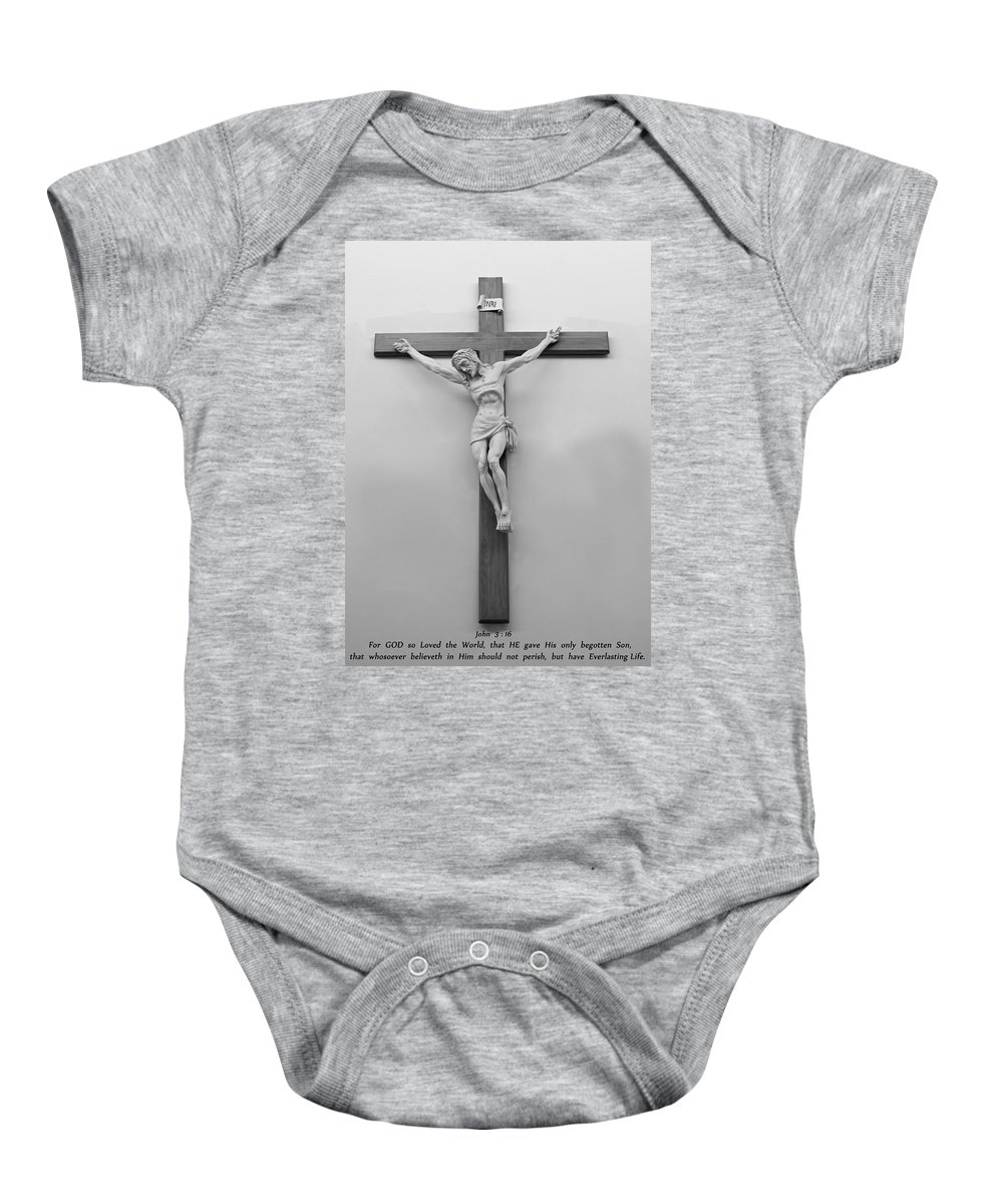 Word Baby Onesie featuring the photograph John Chapter Three Verse Sixteen by Carl Deaville