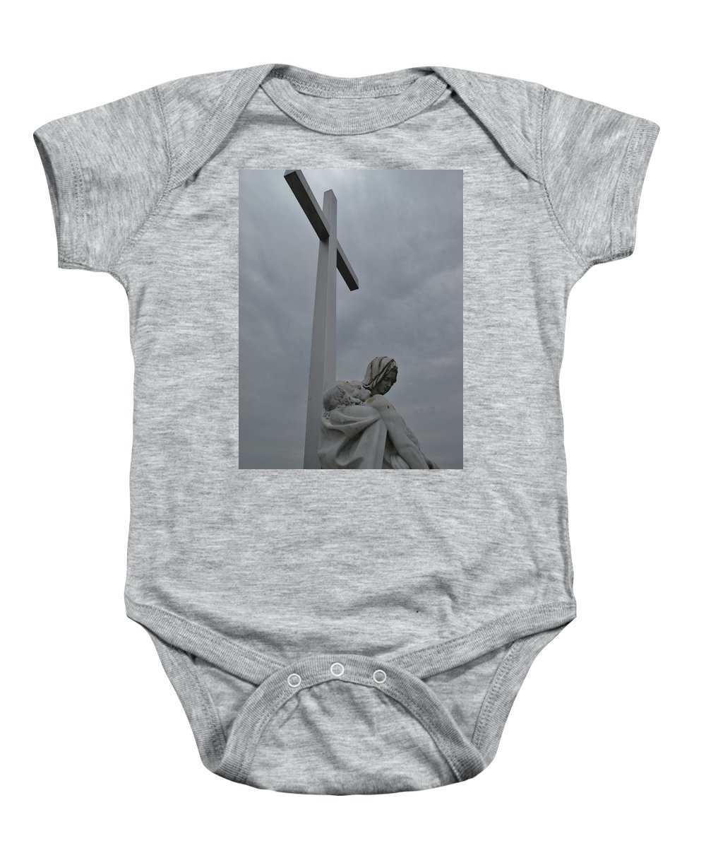 Lady Of Calvery Baby Onesie featuring the photograph Lady And Cross by Michele Nelson