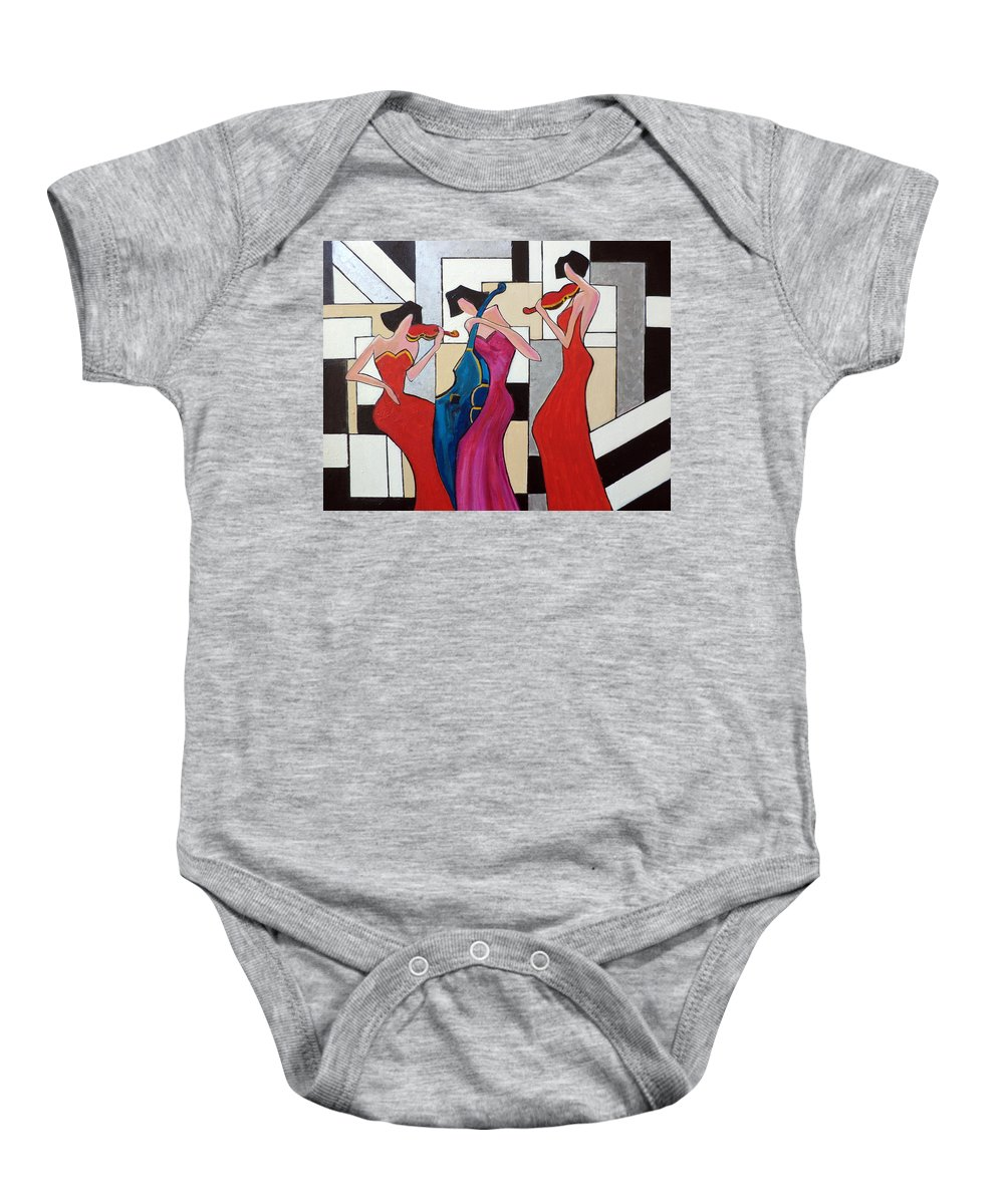 Ladies Baby Onesie featuring the painting Lady Musicians by Rosie Sherman