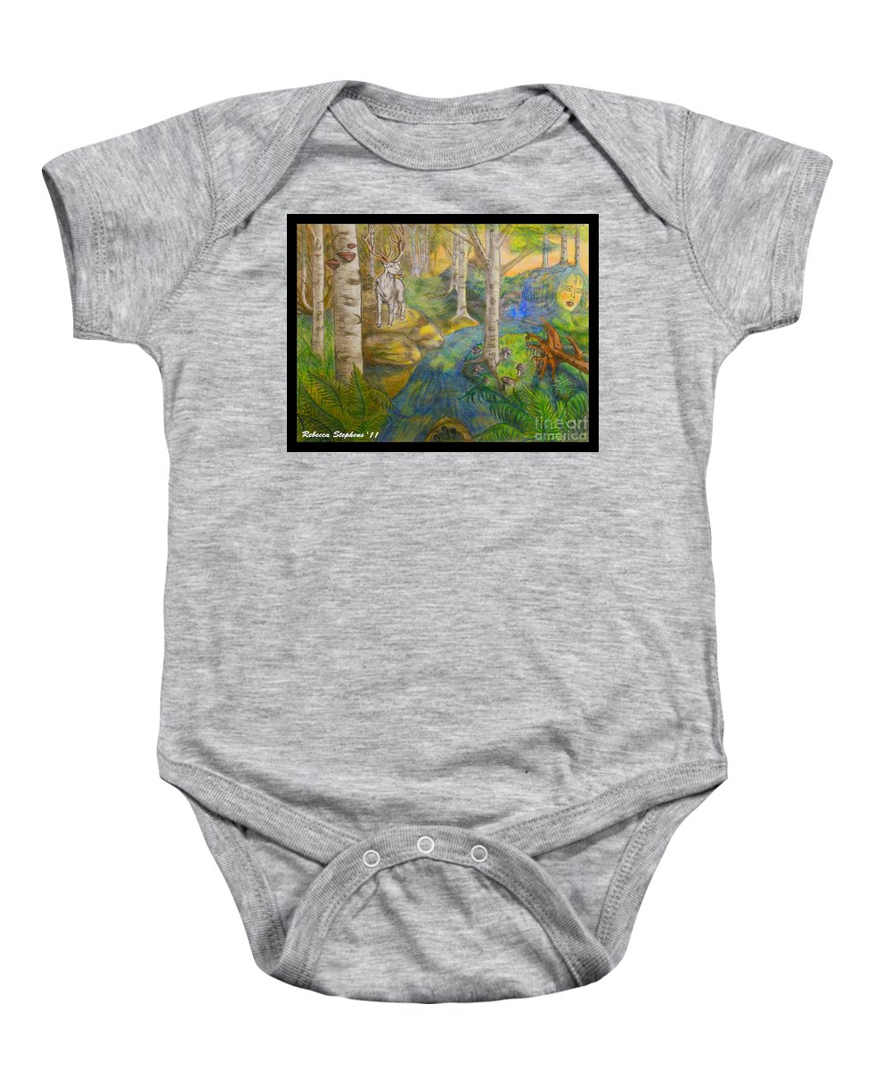 Stag Baby Onesie featuring the drawing Lady Of The White Birch by Rebecca Stephens