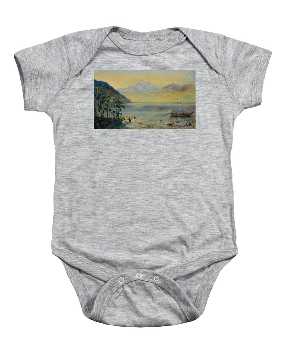 Lake Leman With The Dents Du Midi In The Distance Baby Onesie featuring the painting Lake Leman With The Dents Du Midi In The Distance by John William Inchbold