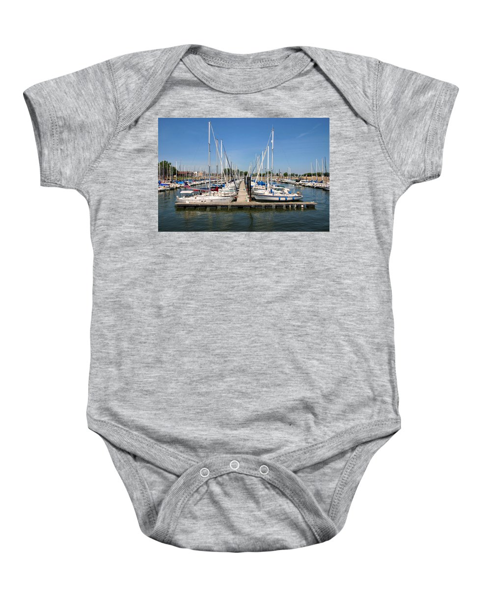 So Many Boats Sit Idle At The Harbor In Lake Pepin Baby Onesie featuring the photograph Lake Pepin Harbor by Kristin Elmquist