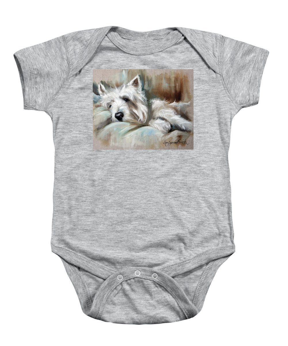 Art Baby Onesie featuring the painting Languor by Mary Sparrow