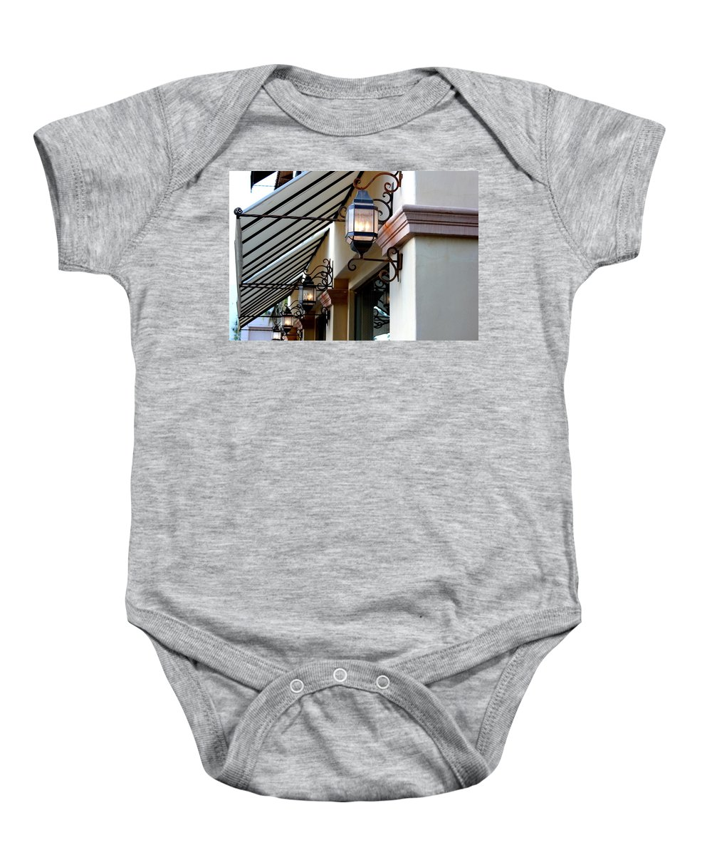 Lanterns Baby Onesie featuring the photograph Lanterns And Lines by Leigh Meredith