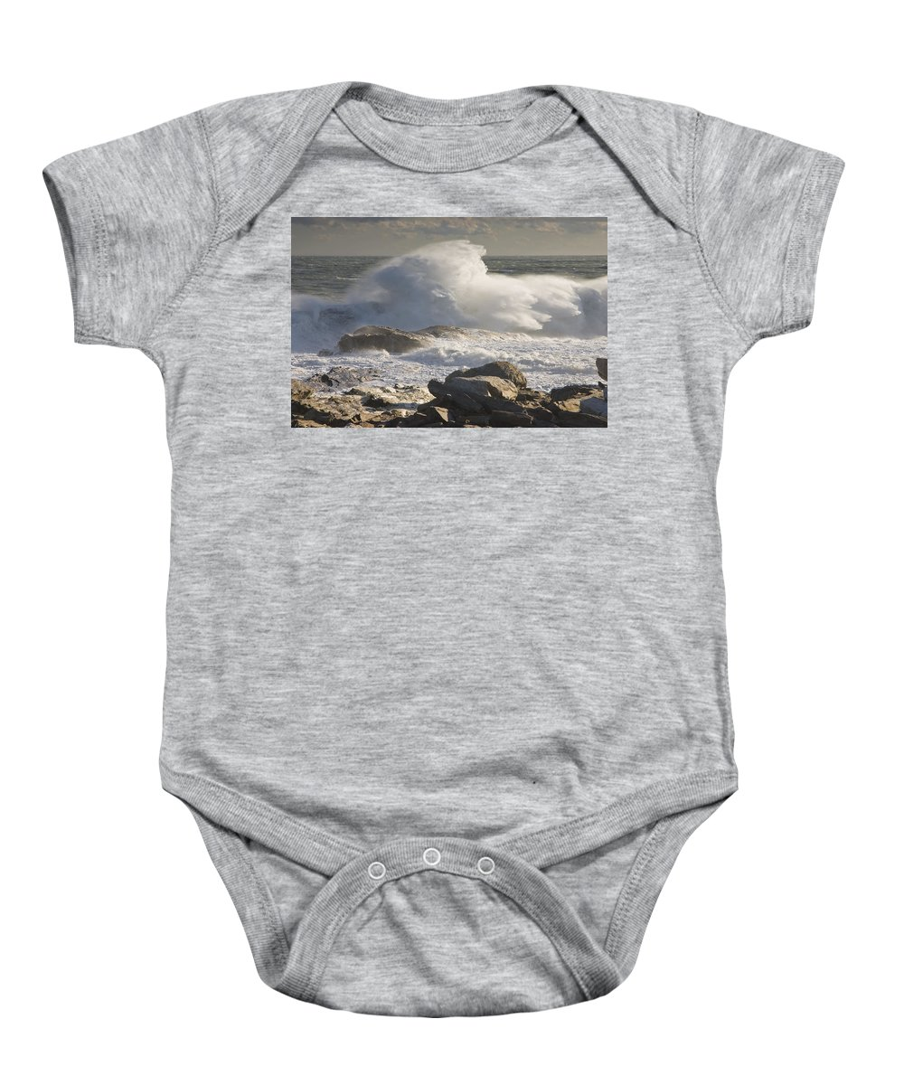 Maine Baby Onesie featuring the photograph Large Waves Near Pemaquid Point On The Coast Of Maine by Keith Webber Jr