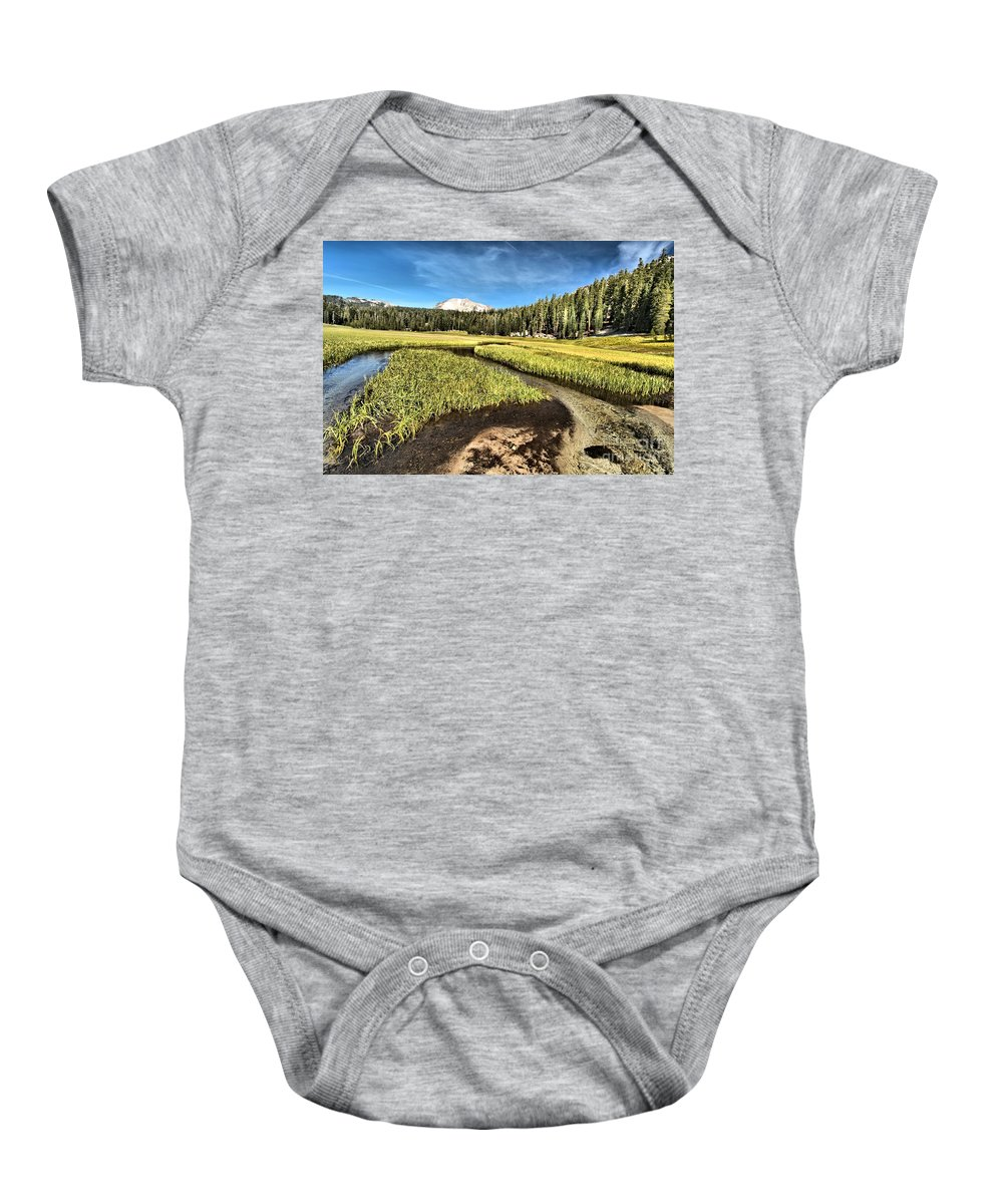 Lassen Baby Onesie featuring the photograph Lassen Meadows by Adam Jewell