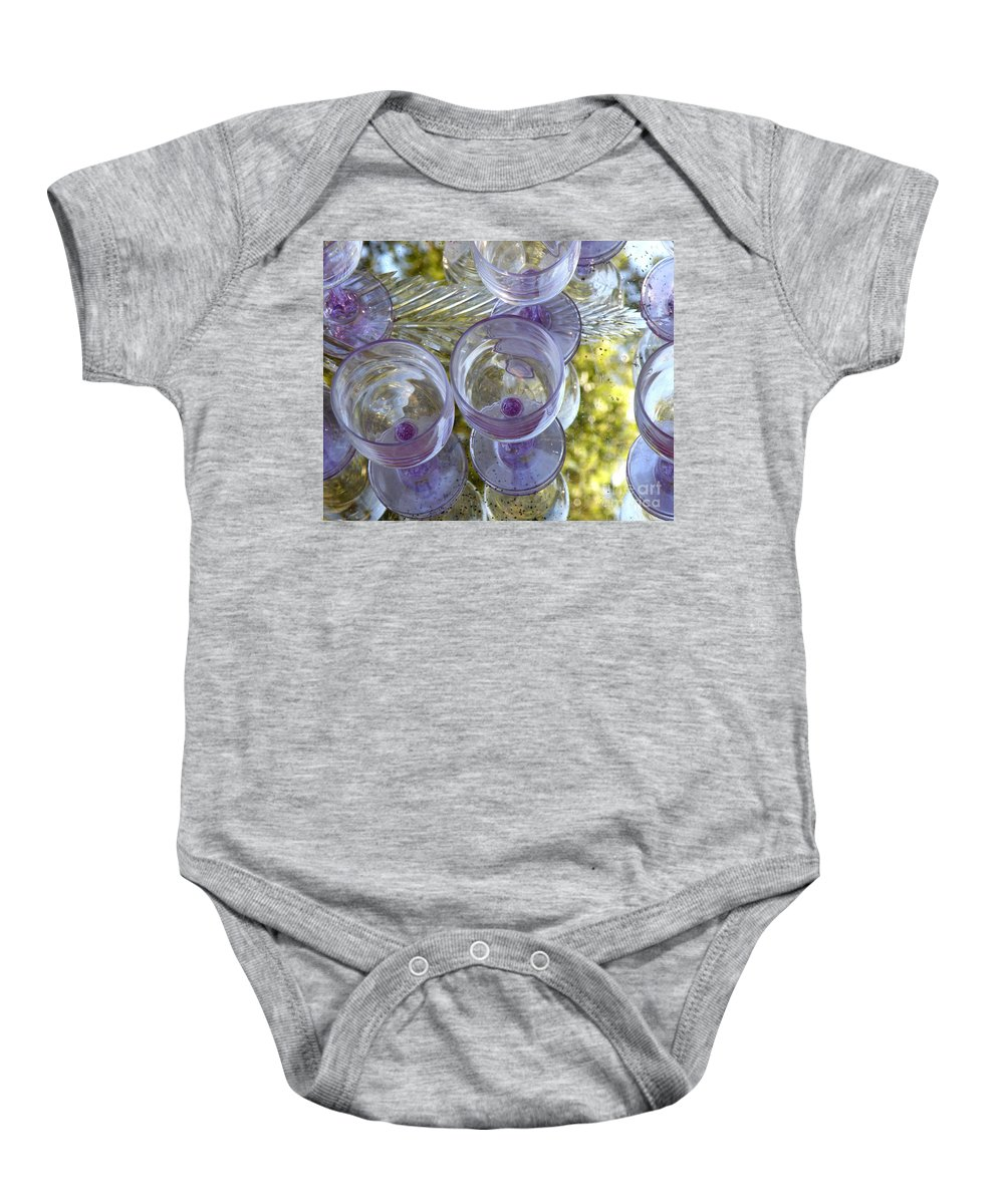 Glasses Baby Onesie featuring the photograph Lavender Wine Glasses by Lainie Wrightson