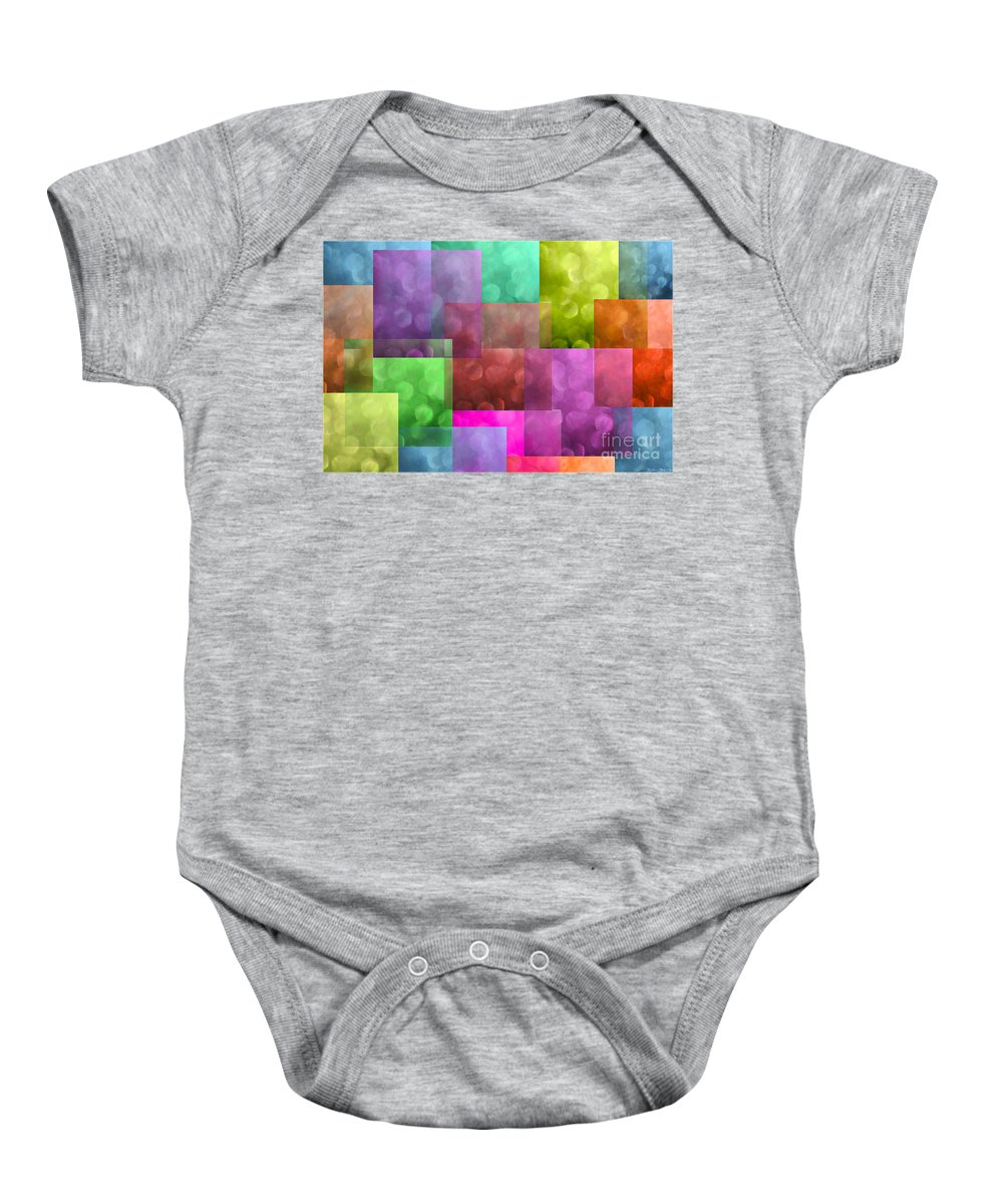 Abstract Baby Onesie featuring the photograph Layered Tiles Abstract by Debbie Portwood