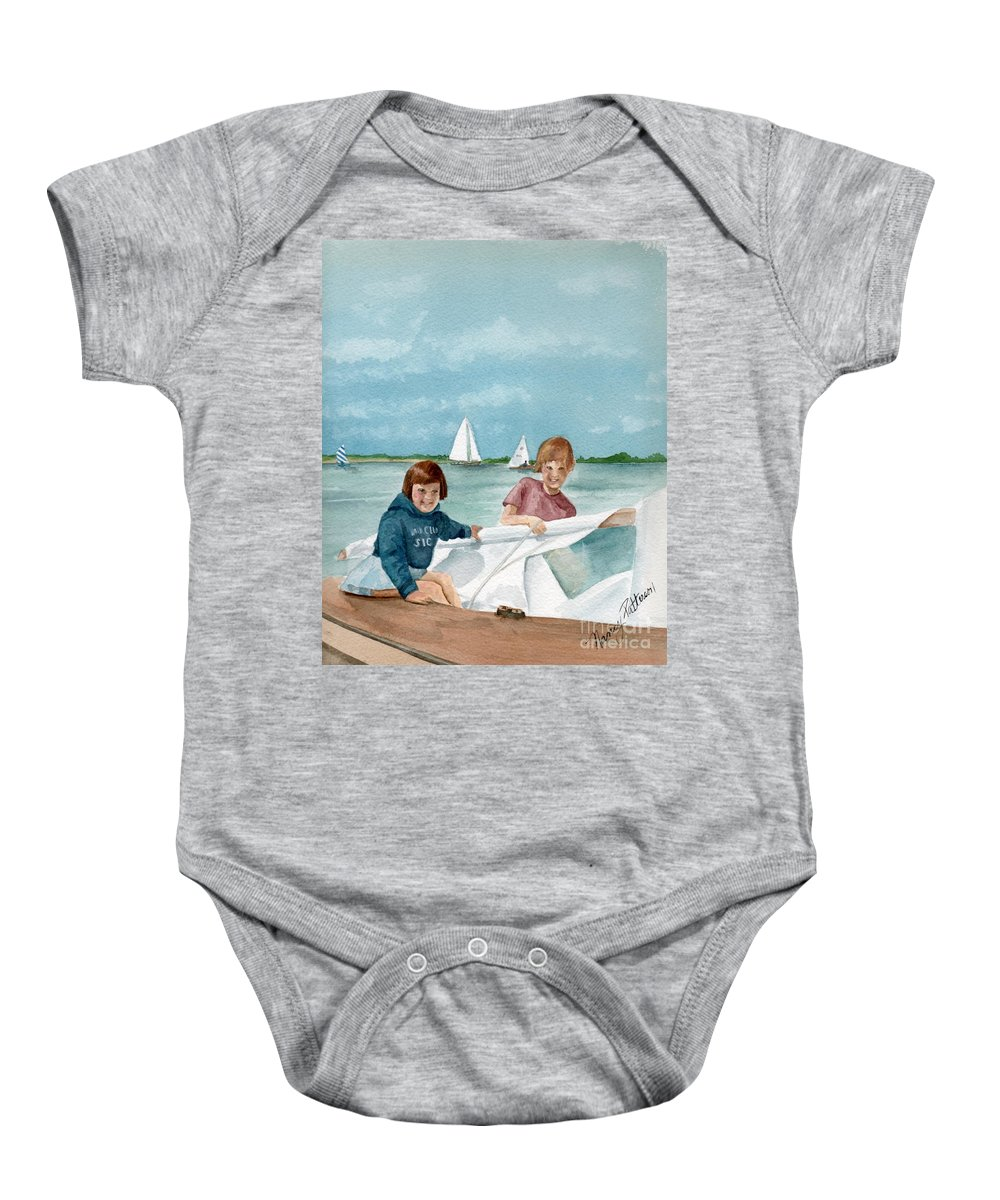 Sailing Baby Onesie featuring the painting Let's Go Sailing by Nancy Patterson
