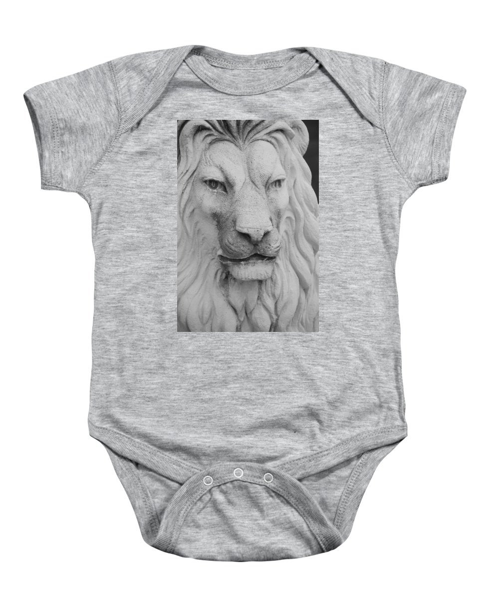 Lion Baby Onesie featuring the photograph Lion In Stone by Rob Hans