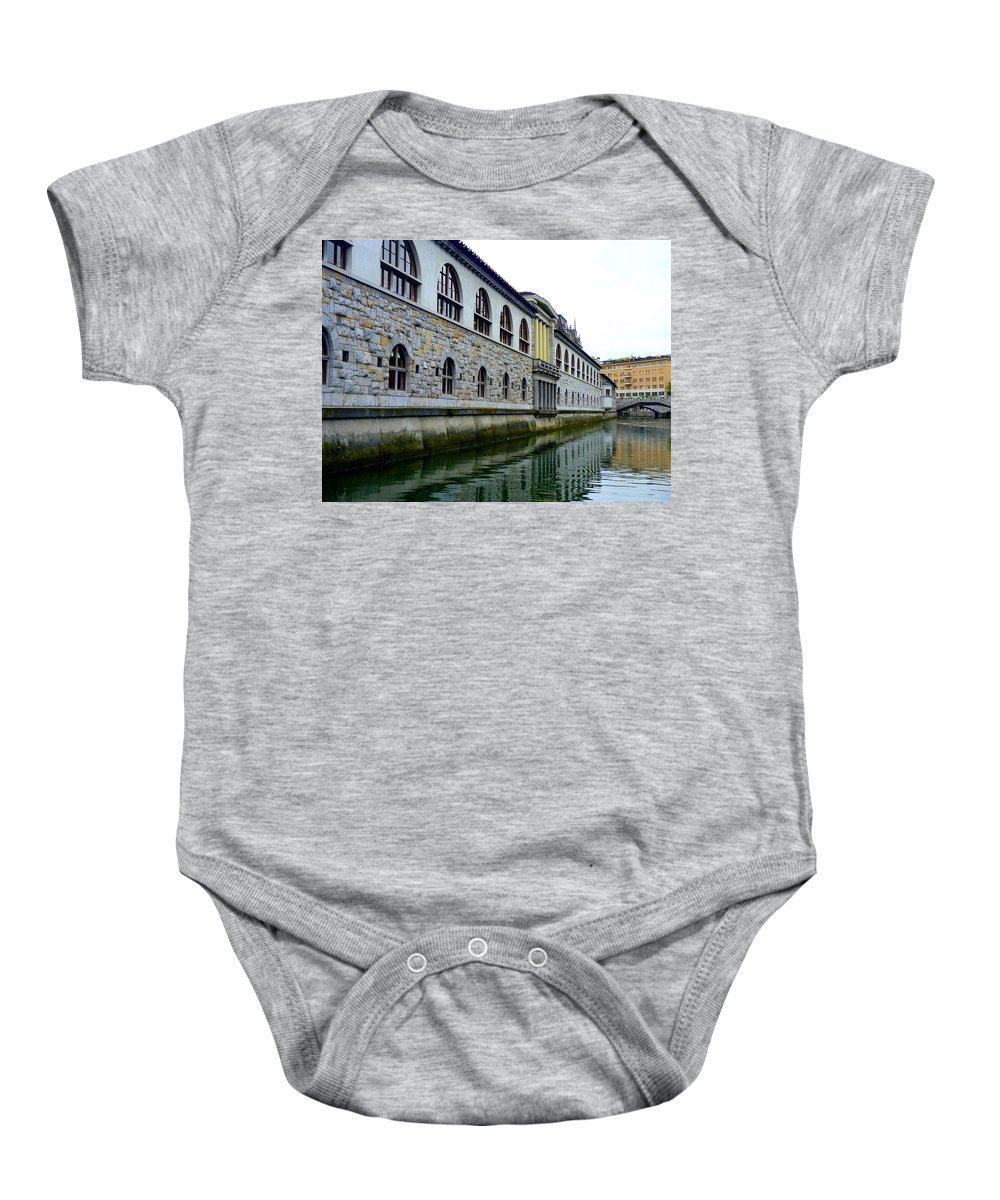 Ljubljana Baby Onesie featuring the photograph Ljubljana Reflections by Carla Parris