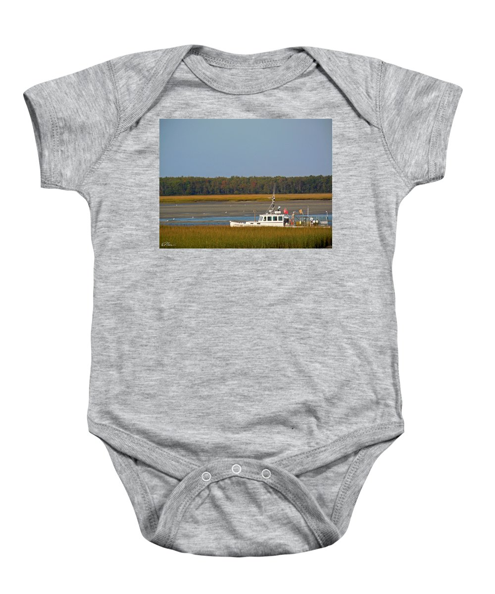 Lobster Baby Onesie featuring the photograph Lobster Boat Along Maine by Nancy Griswold