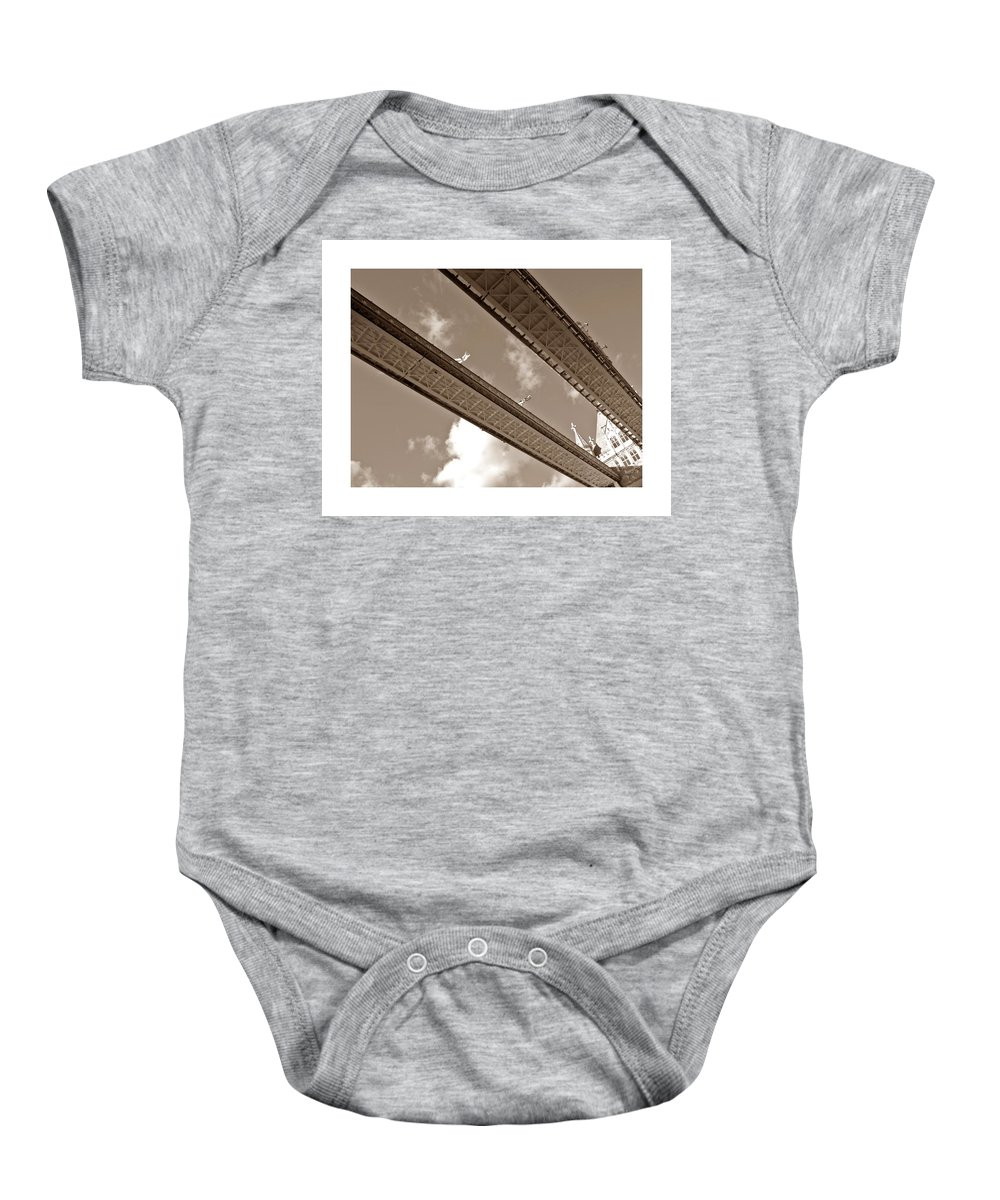 London Tower Bridge United Kingdom Gb Sky Clouds Cloud Bw Black White Baby Onesie featuring the photograph London Tower Brigde 5 by Steve K