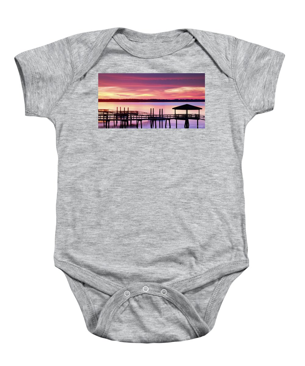 Beaufort County Baby Onesie featuring the photograph Long After Sunset by Phill Doherty
