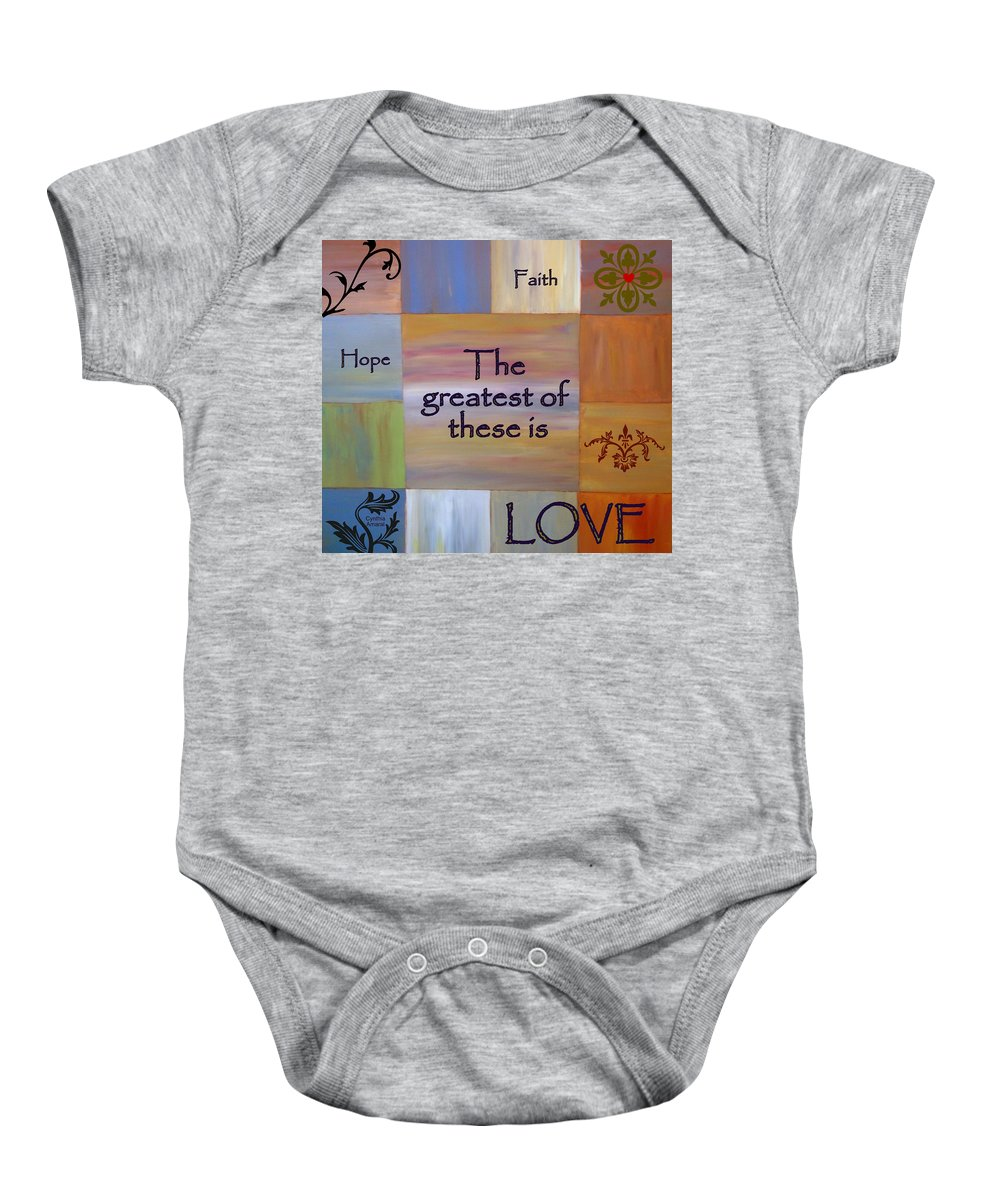 Acrylic Art Baby Onesie featuring the painting Love Is Everything by Cynthia Amaral