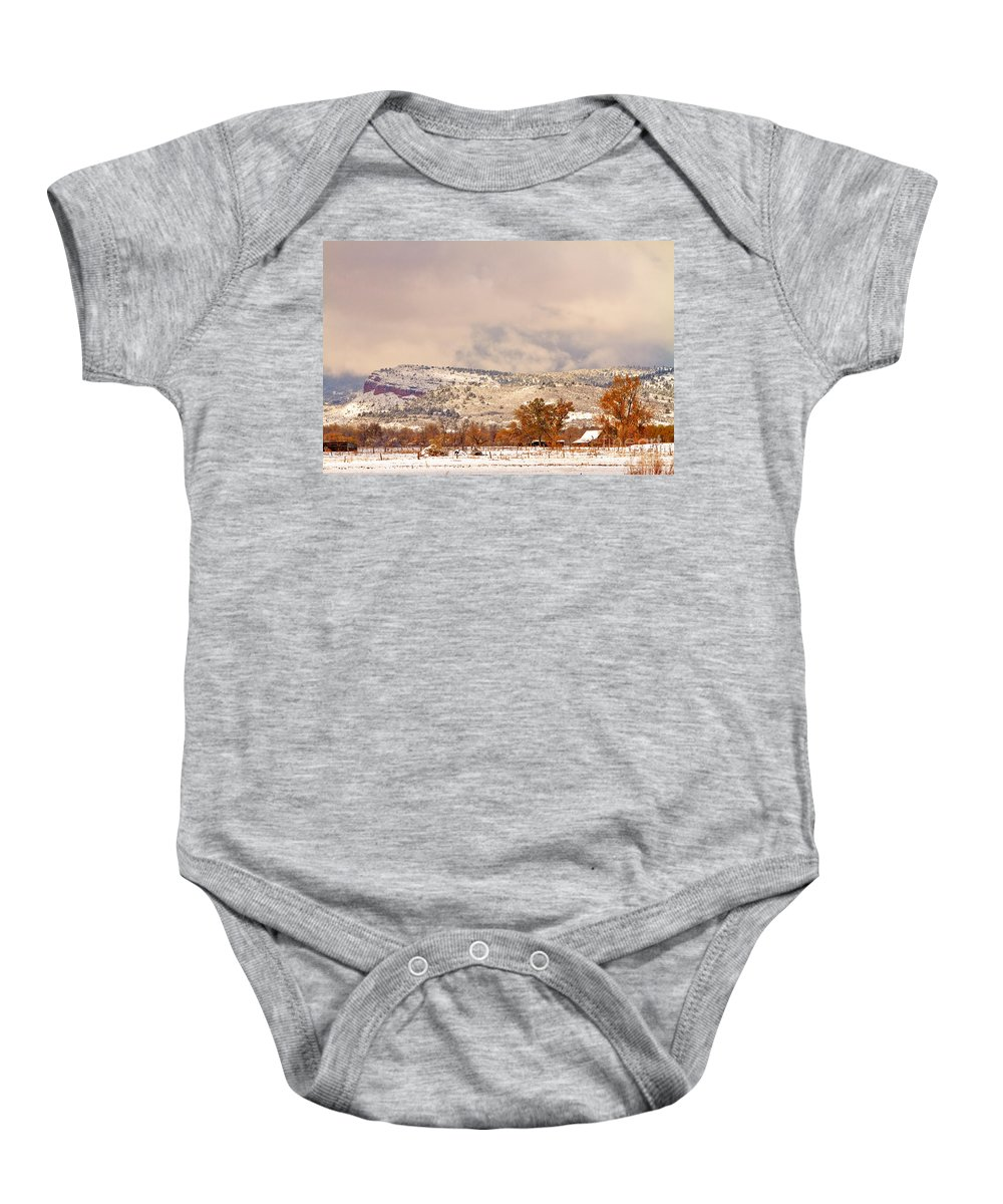 'low Clouds' Baby Onesie featuring the photograph Low Winter Storm Clouds Colorado Rocky Mountain Foothills 6 by James BO Insogna