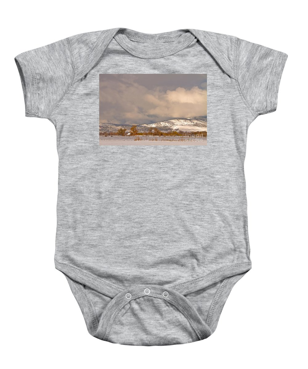 'low Clouds' Baby Onesie featuring the photograph Low Winter Storm Clouds Colorado Rocky Mountain Foothills by James BO Insogna
