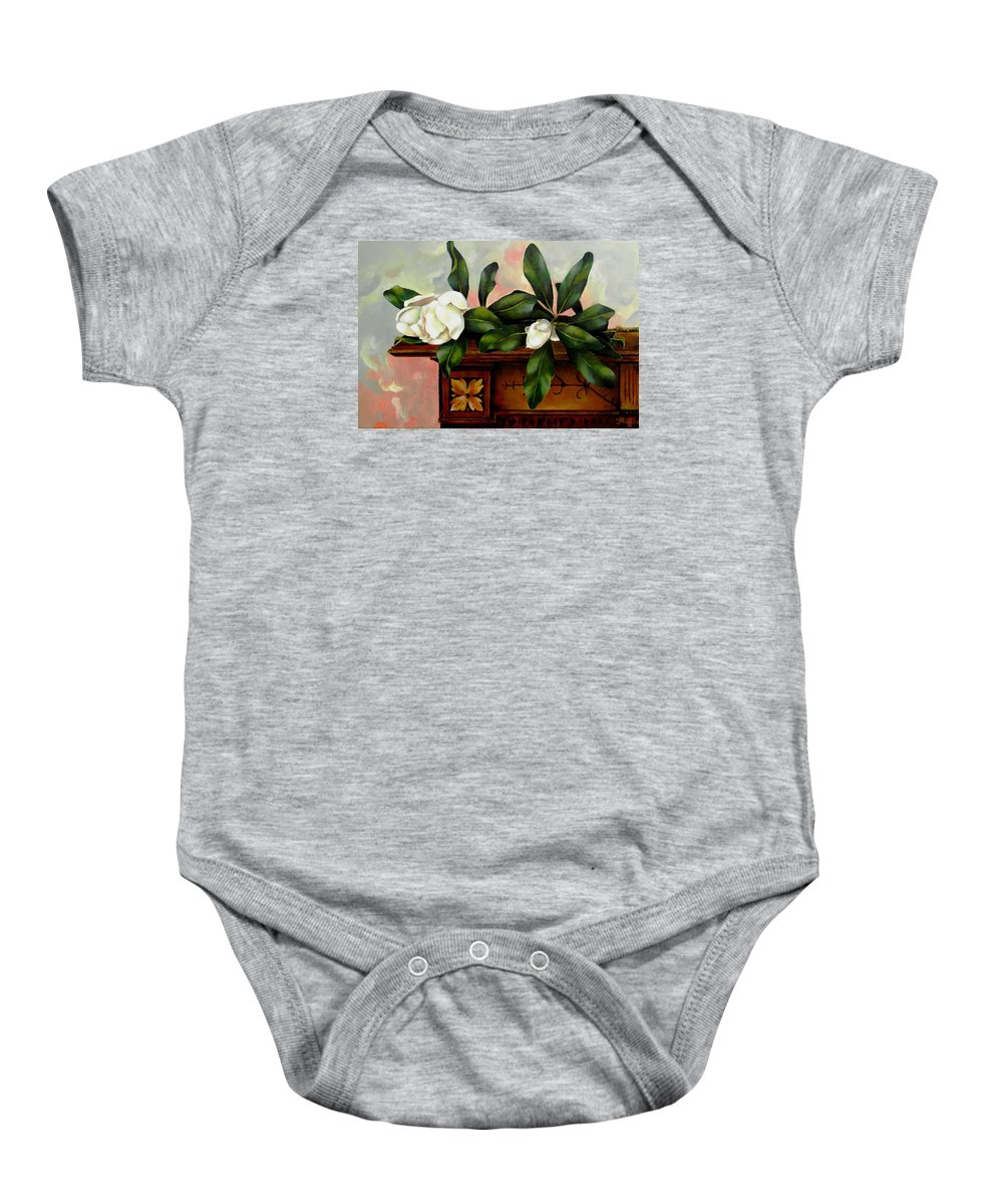 Magnolias Baby Onesie featuring the painting Magnolias by Jolante Hesse