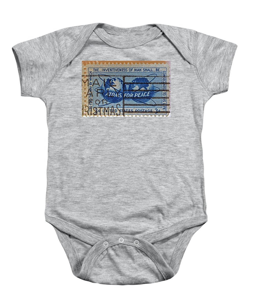 Atoms For Peace Baby Onesie featuring the photograph Mail Early For Christmas And Peace by Bill Owen