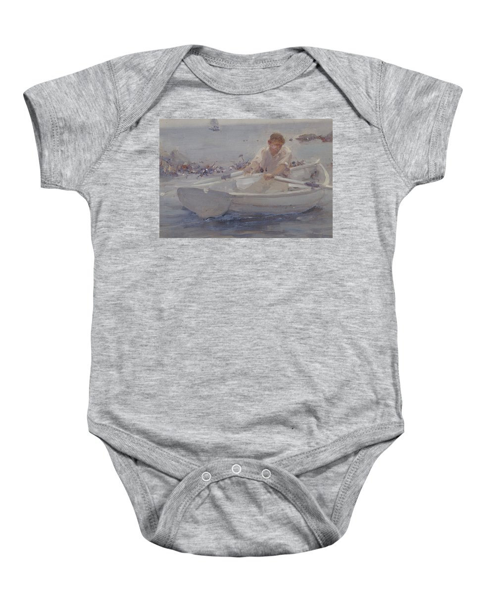 Male; Dinghy; Oars; Fishing; Rocks; Man In A Rowing Boat Baby Onesie featuring the painting Man In A Rowing Boat by Henry Scott Tuke