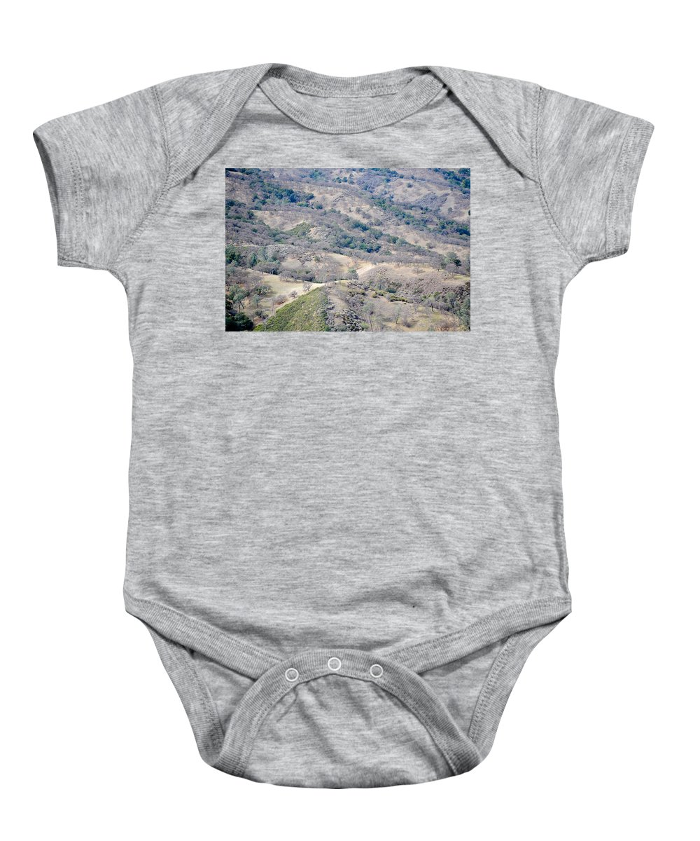 Del Valle Baby Onesie featuring the photograph Many Hills by Karen W Meyer
