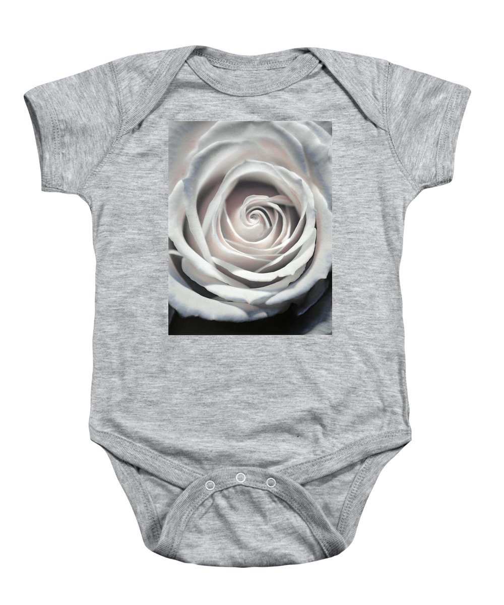 Florals Baby Onesie featuring the photograph May Rose by Linda Dunn