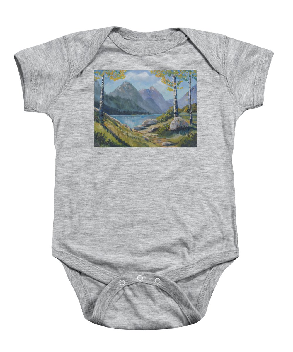 Mills Lake Baby Onesie featuring the painting Mills Lake by Heather Coen