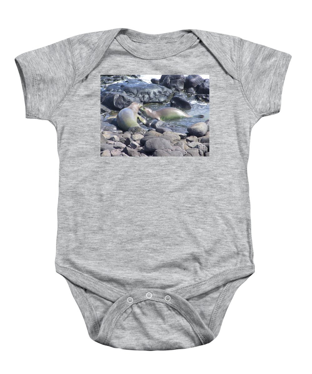 Mary Deal Baby Onesie featuring the photograph Monk Seals by Mary Deal
