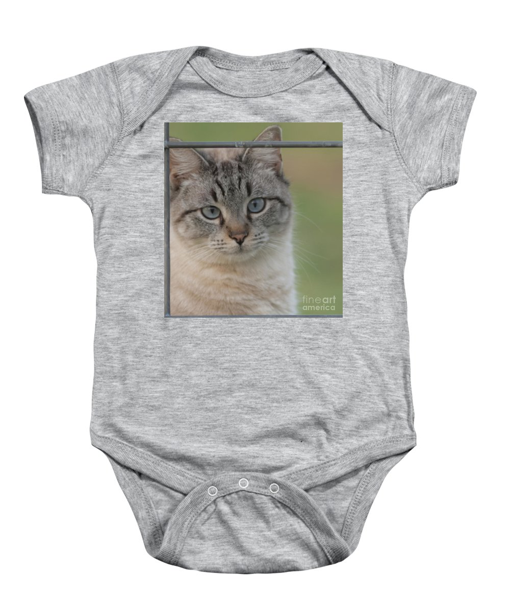 Cat Baby Onesie featuring the mixed media Moo I'm A Cow by Kim Henderson