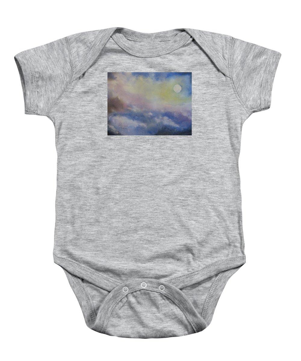 Light Baby Onesie featuring the painting Moonlight by Karen Stark