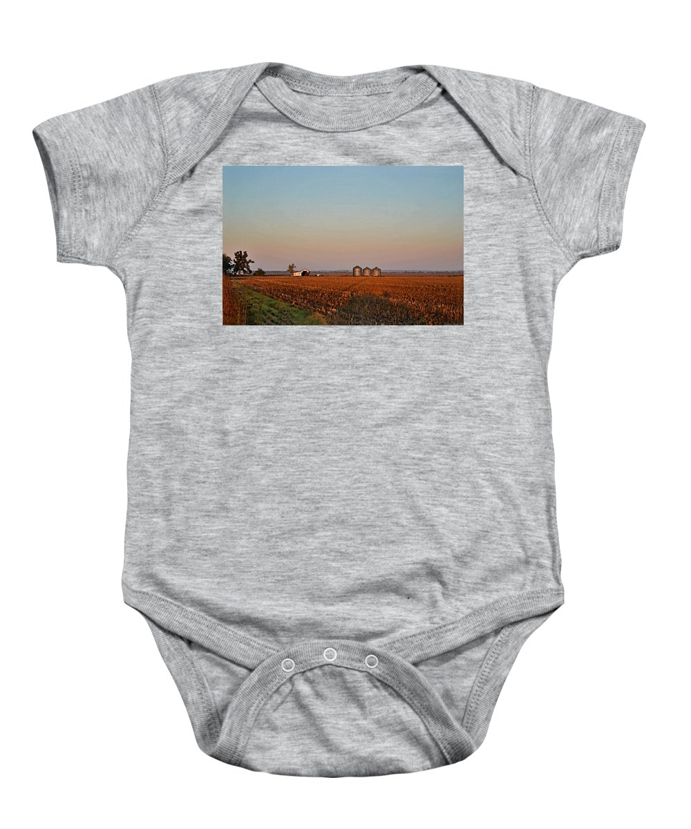 Scenery Baby Onesie featuring the photograph Morning In The Heartland Watercolor Photoart I by Debbie Portwood