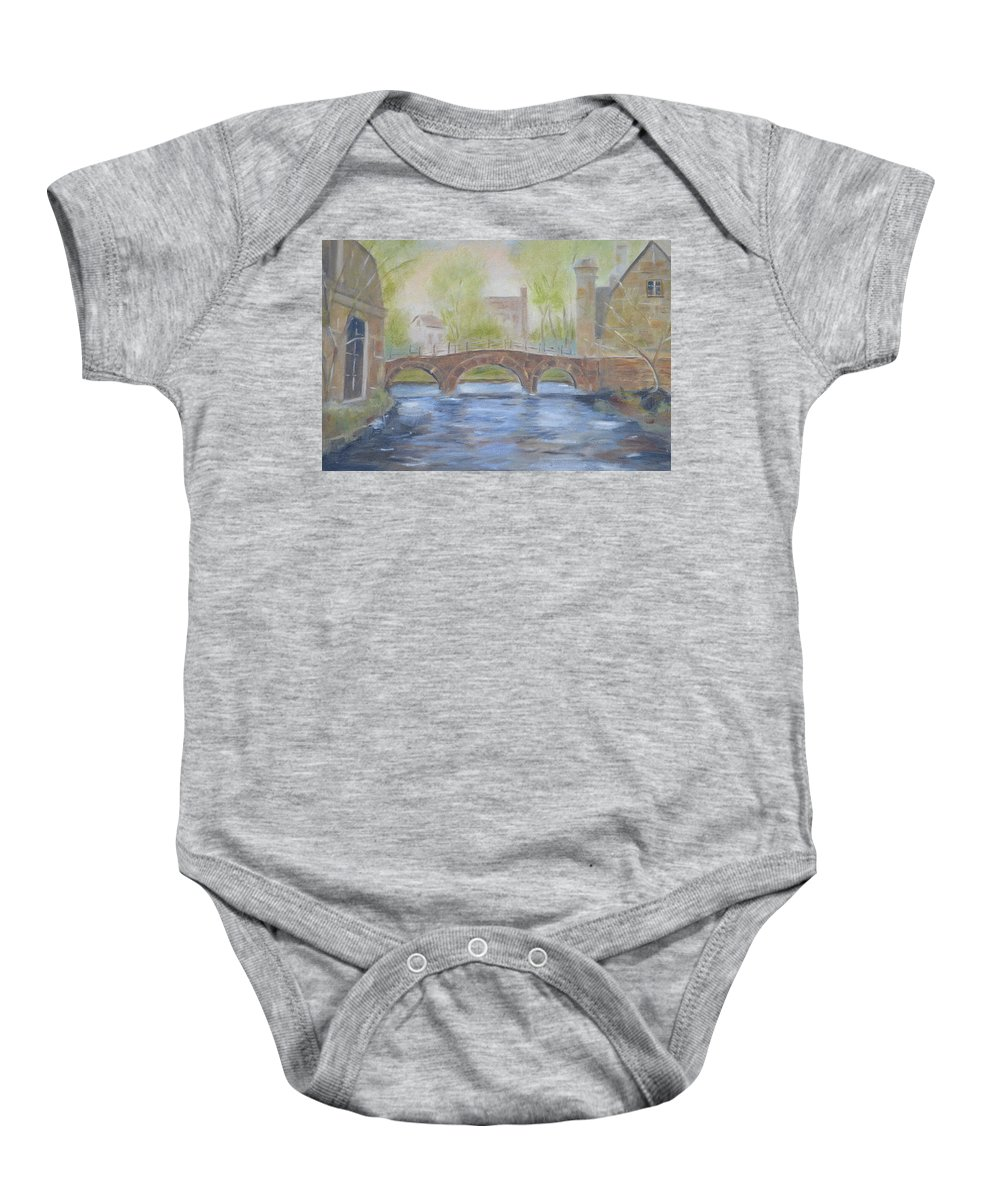 River Baby Onesie featuring the painting Morning On The Meuse by Patricia Caldwell