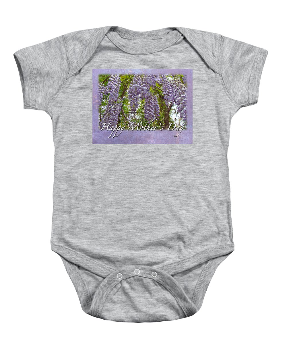 Mothers Day Baby Onesie featuring the photograph Mother's Day Card - Purple Wisteria by Mother Nature