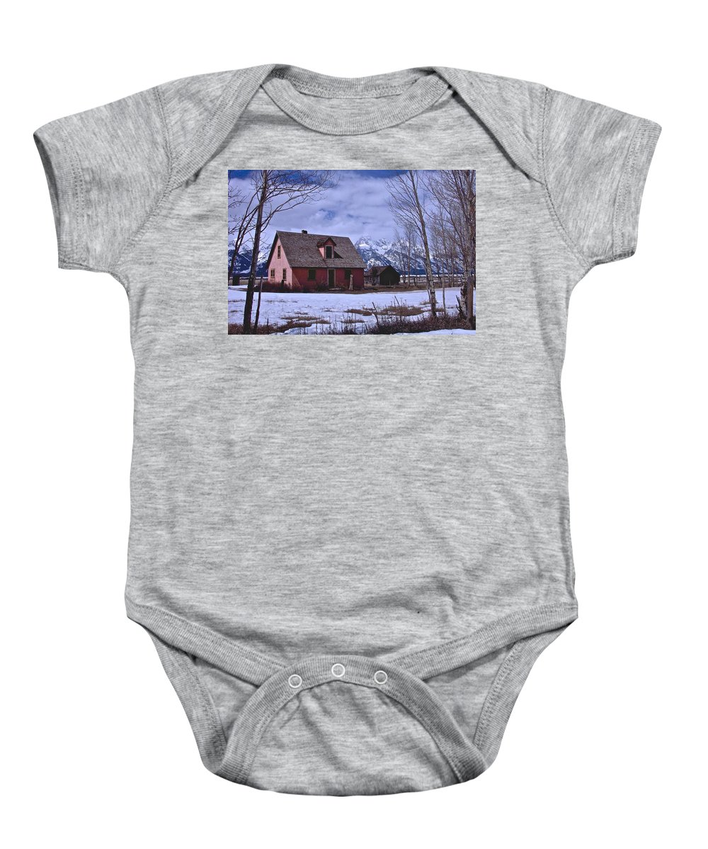 Grand Teton National Park Baby Onesie featuring the photograph Moulton's Pink House On Mormon Row by Eric Tressler
