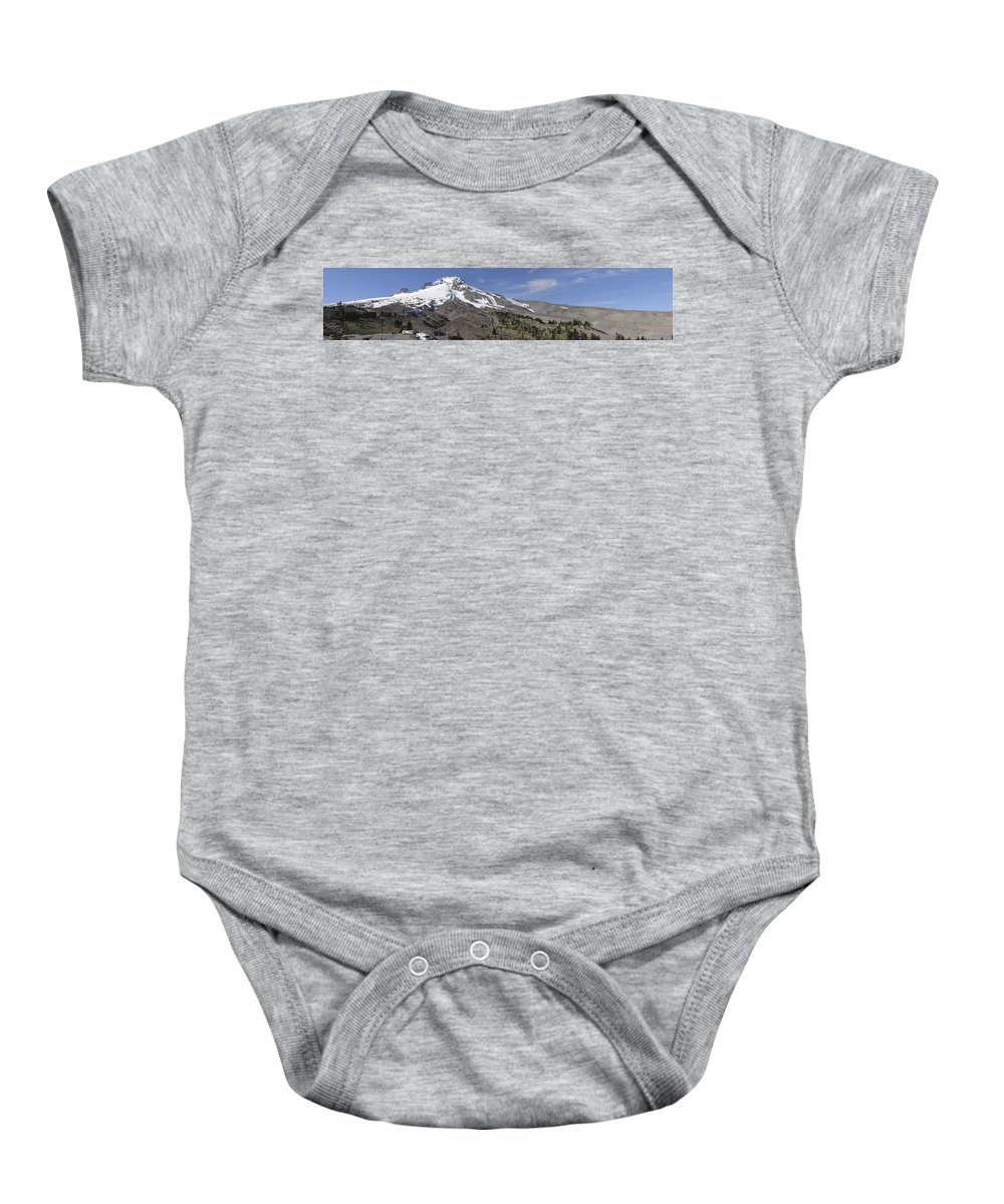 Americas Baby Onesie featuring the photograph Mount Hood Pano by Roderick Bley