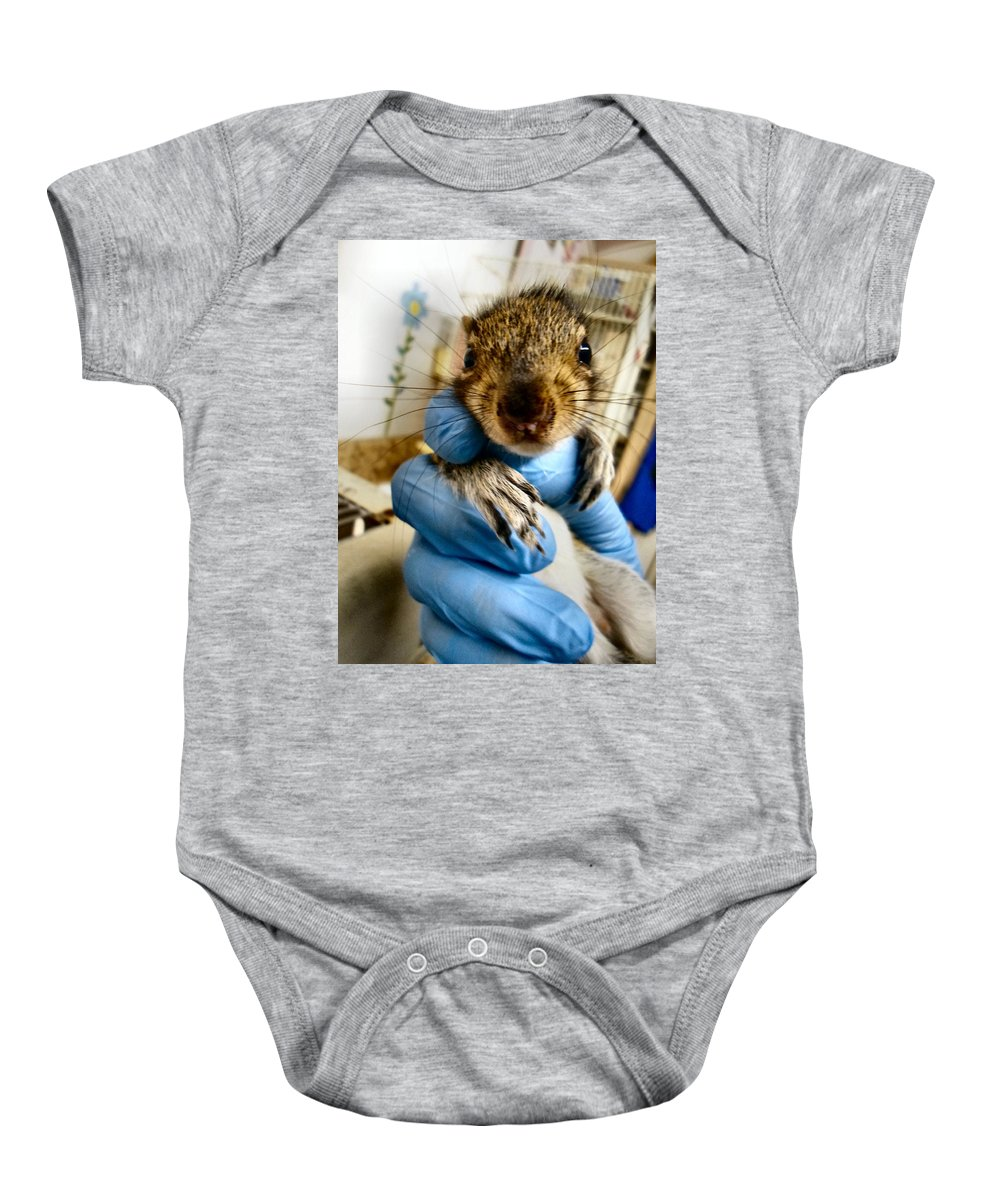 Antler Baby Onesie featuring the photograph Mr. Whiskers by Art Dingo