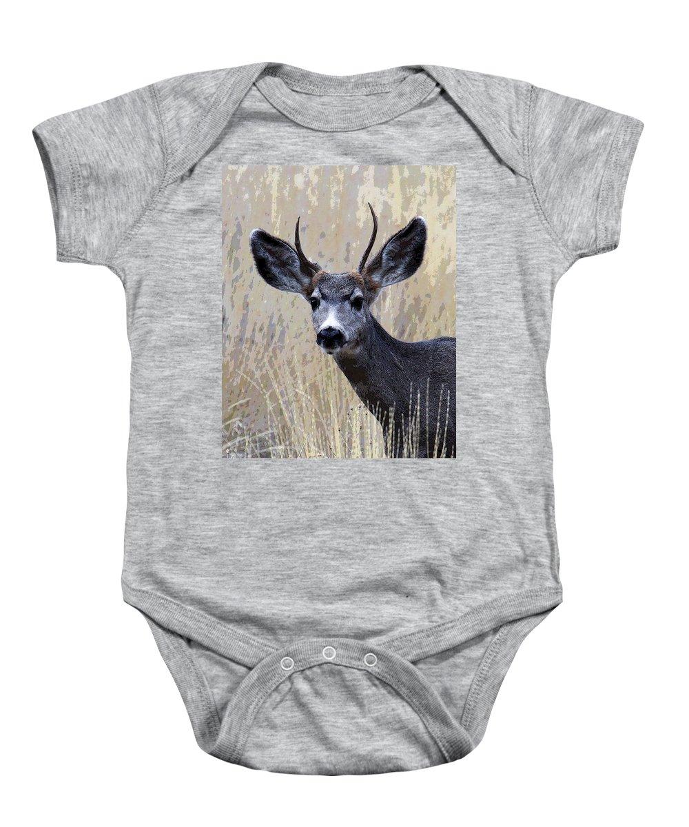 Bull Elk Baby Onesie featuring the photograph Mule Deer Buck by Steve McKinzie
