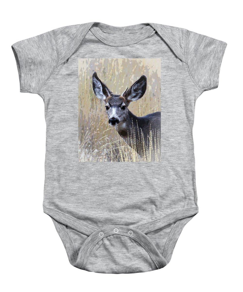 Mule Deer Baby Onesie featuring the photograph Mule Deer Spike by Steve McKinzie